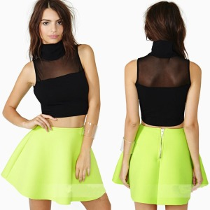2014-Summer-Fashion-Turtleneck-Bare-Midriffs-Women-Punk-T-Shirts-Sleeveless-Novelty-Blouses-Sexy-Gauze-Patchwork