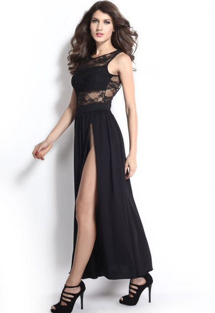 Black-V-Neck-Back-Double-High-Slits-Lace-Maxi-Dress-LC6629-19450