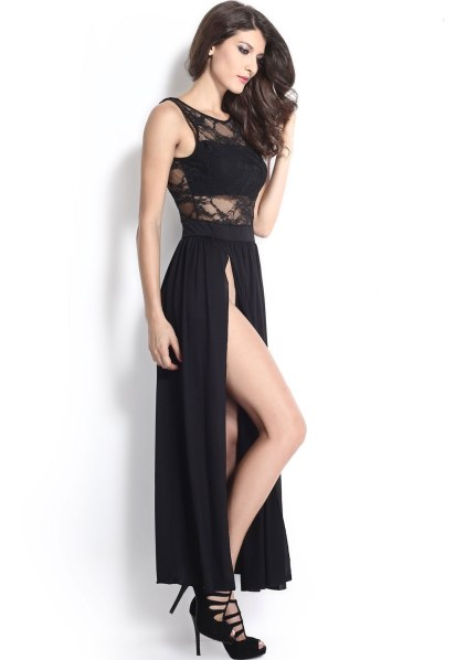 Black-V-Neck-Back-Double-High-Slits-Lace-Maxi-Dress-LC6629-19451